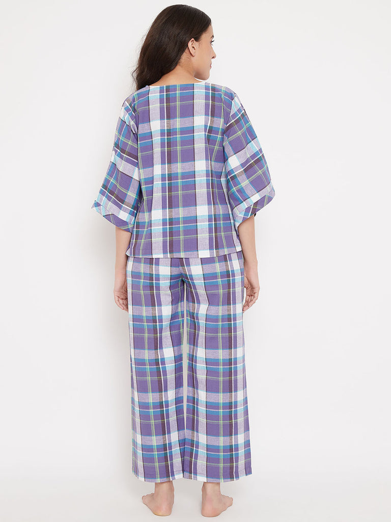 Violet Plaid Cotton Pyjama Set
