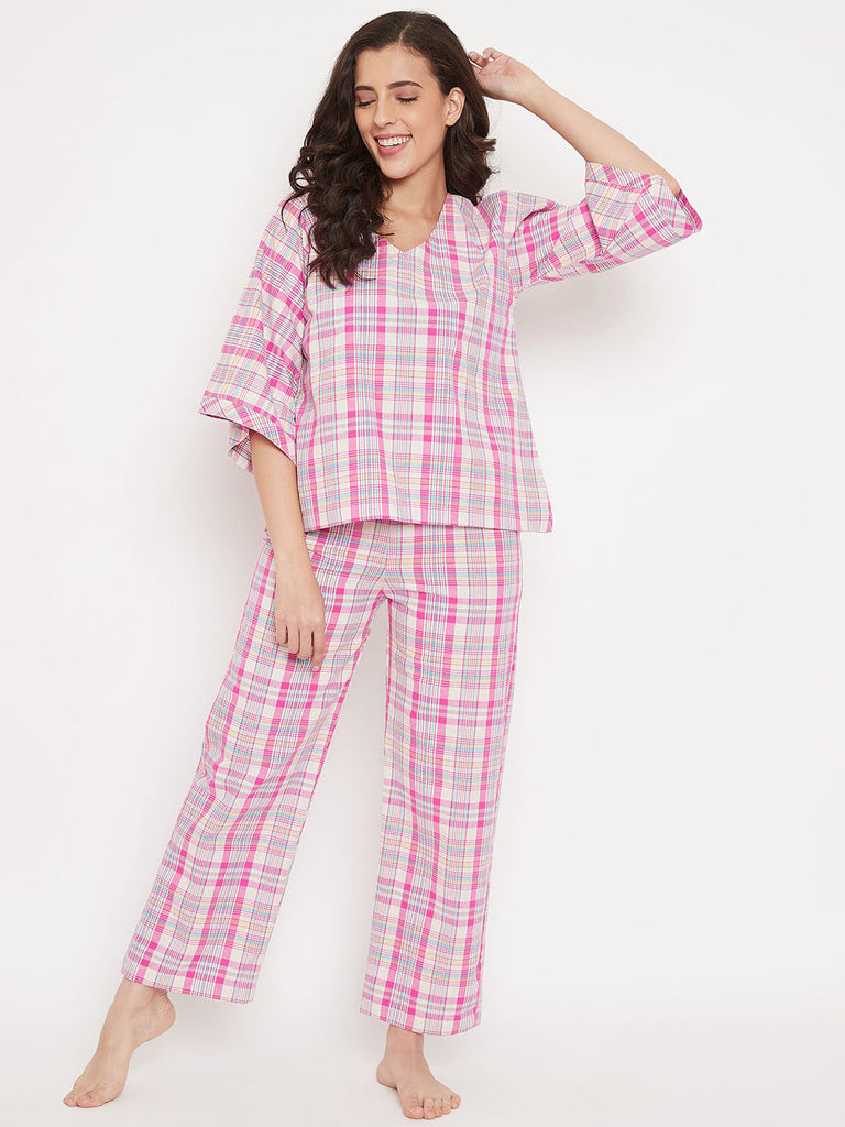 Bubblegum Plaid Cotton Pyjama Set