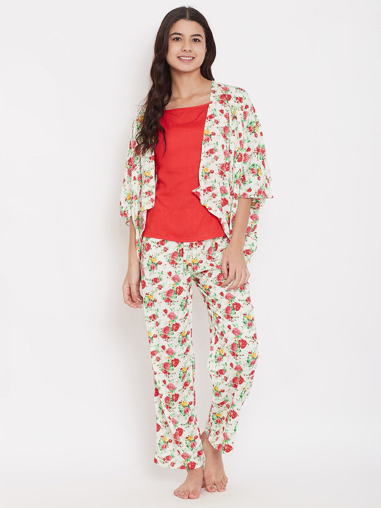 Red Floral 3 Piece Pyjama Set
