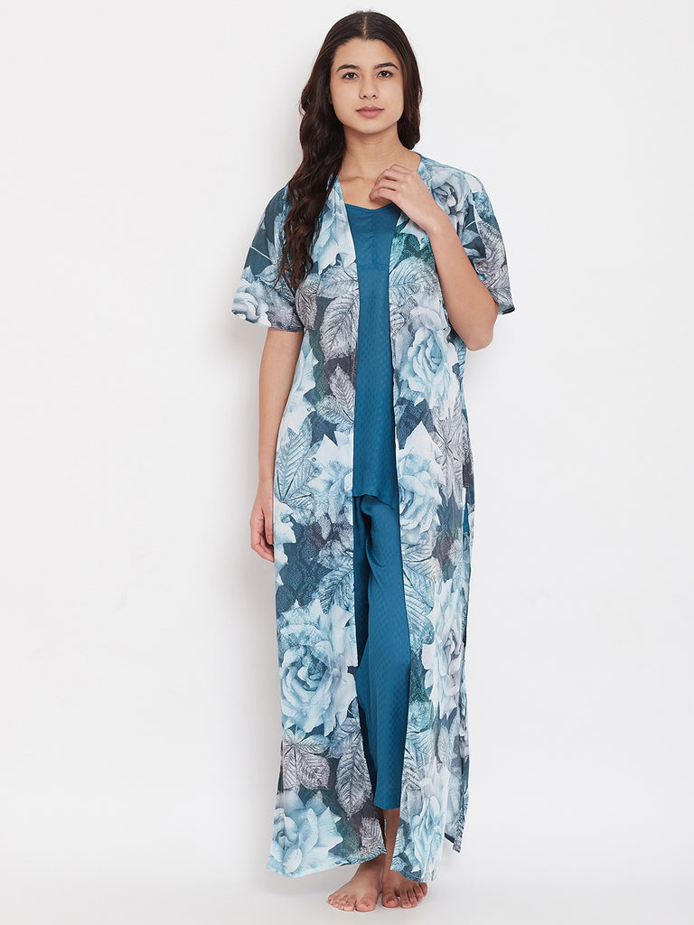 Floral Digital Print Gown with Pyjama Set