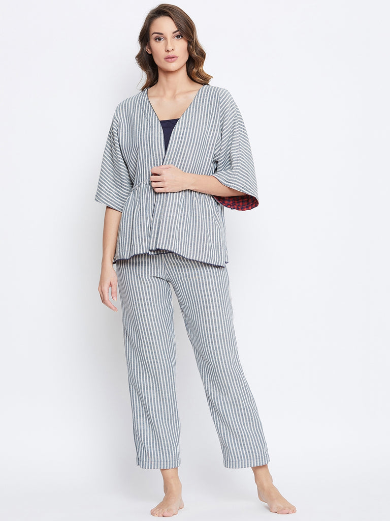 Reversible Plaids and Stripes Cotton Lounge Set