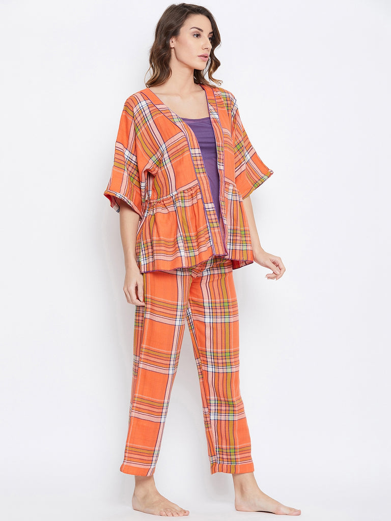 Reversible Plaids Cotton Lounge Set