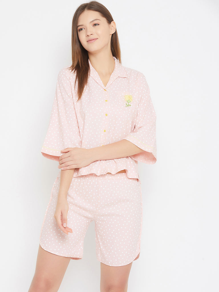 Pink Polka Dot Shirt And Short Set With Embroidery Detail