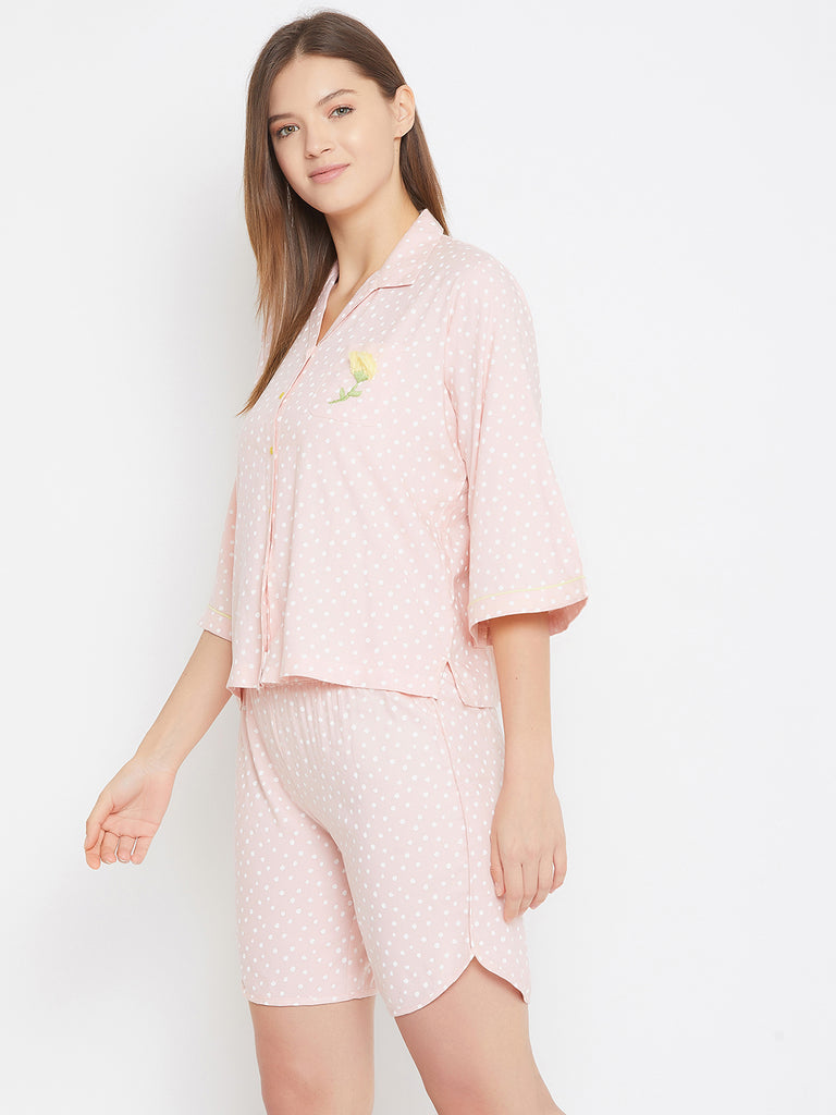 Polka Dots Pink Shorts Set with Embroidery Pocket