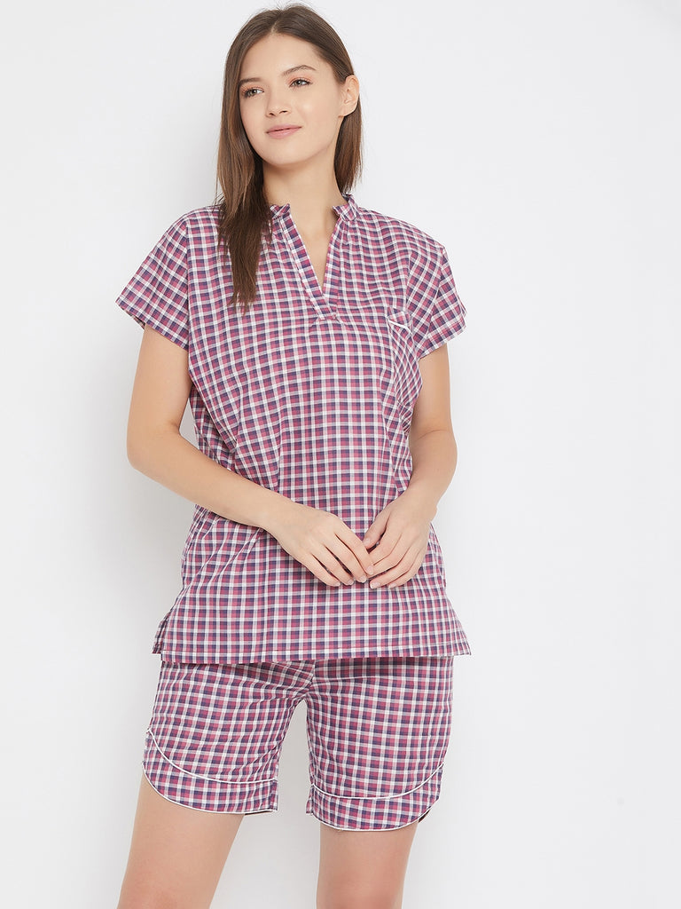 Pink And Purple Cotton Checks Top And Short Set With Pocket Detail