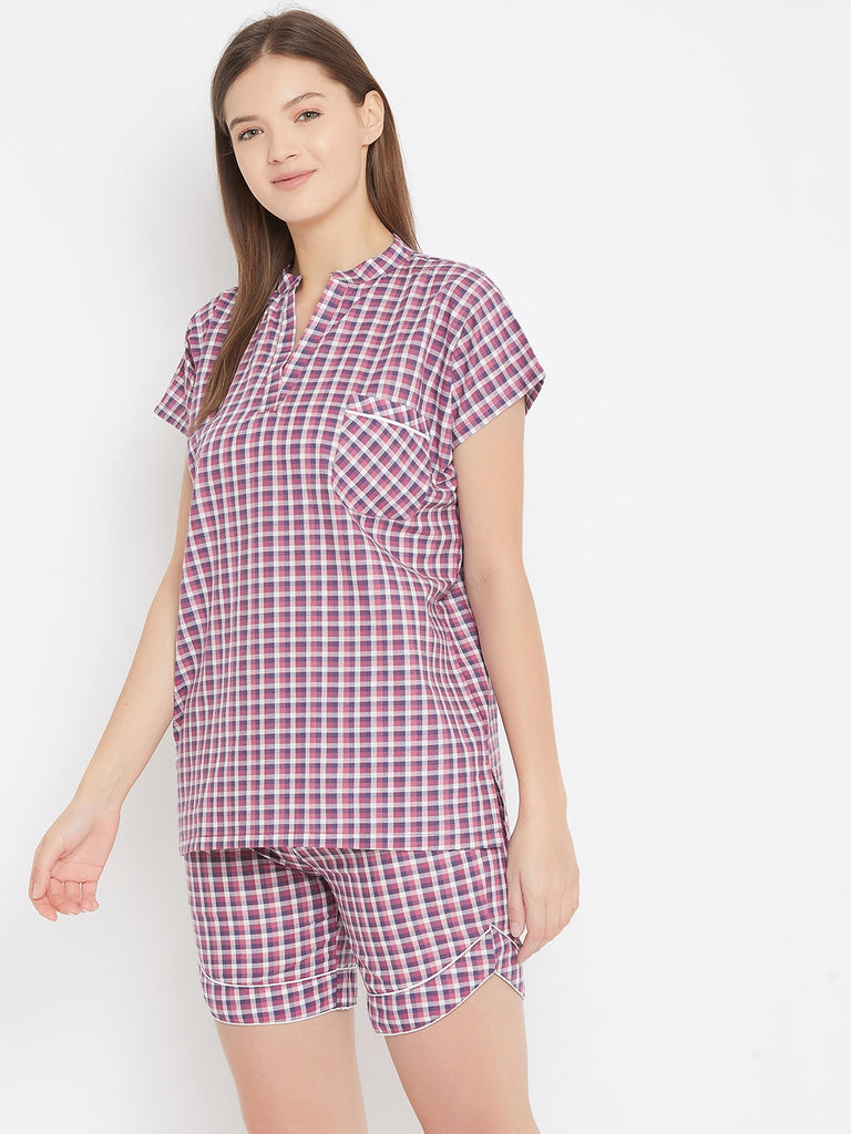 Purple Checks Shorts Nightwear Set