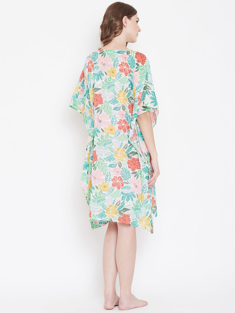 FLORAL CANVAS KAFTAN GOWNSET