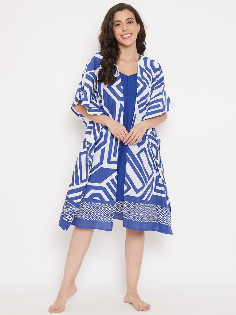 Bold Lines Cotton Kaftan Gown Set