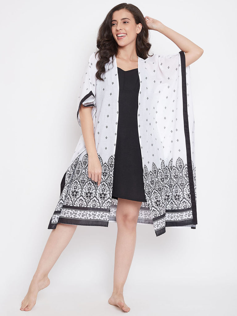 White Buti Printed Cotton Gown Set