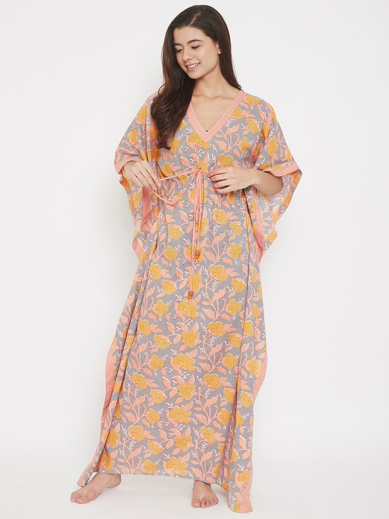 Block Printed Floral Cotton Maxi Kaftan with Waist Tie-Up