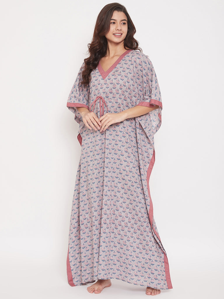 Hand Block Buti Print Cotton Maxi Kaftan with Waist Tie-Up