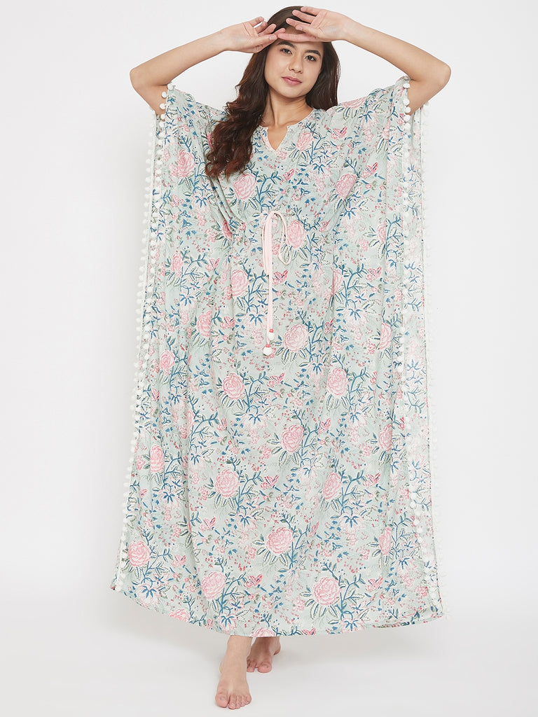 Block Printed Floral Cotton Maxi Kaftan with Waist Tie-Up and Pompom Lace