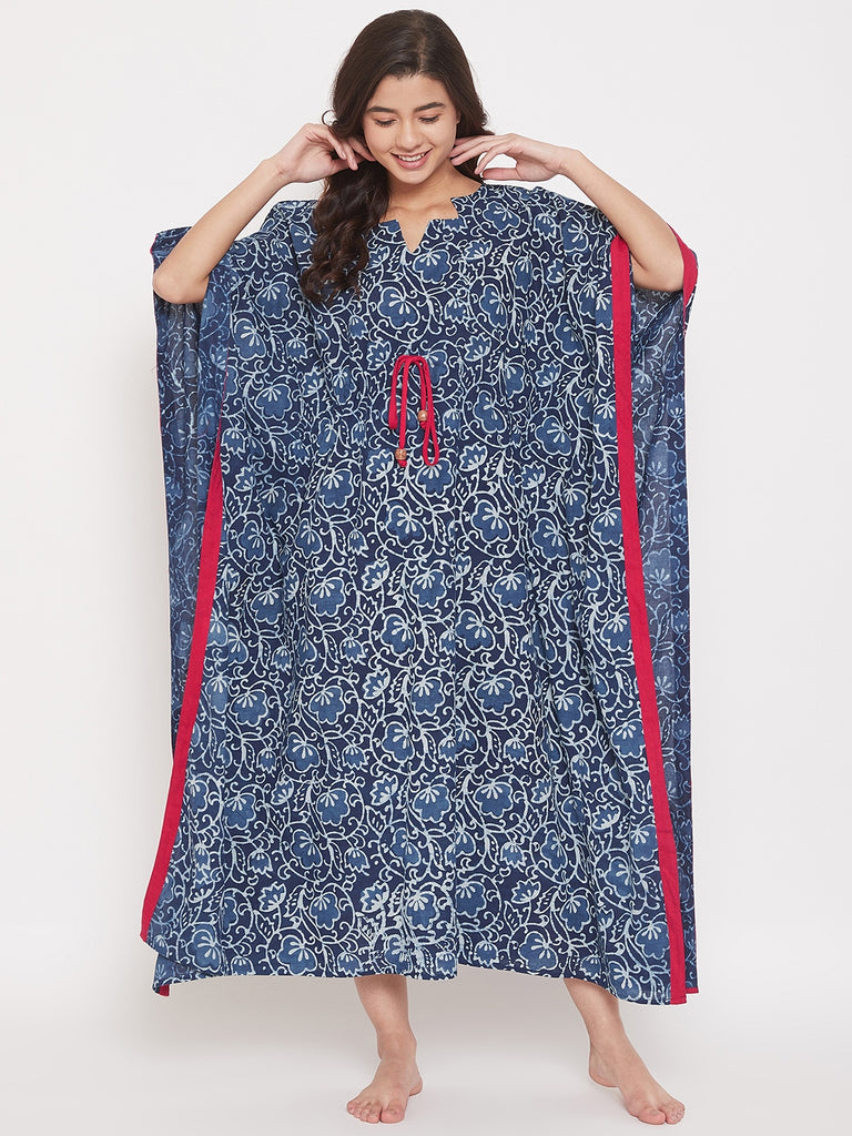 Hand Block Printed Indigo Cotton Loungewear Kaftan