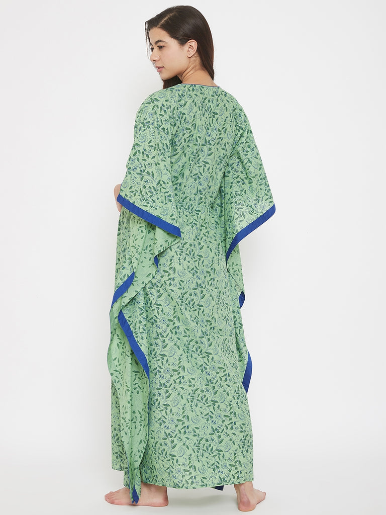 Block Printed Green Floral Cotton Maternity Kaftan