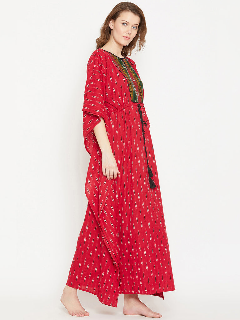 Red Ikat Handloom Cotton Kaftan