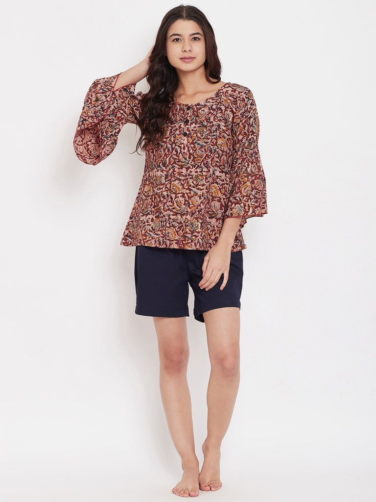 Kalamkari Printed Top and Shorts Set