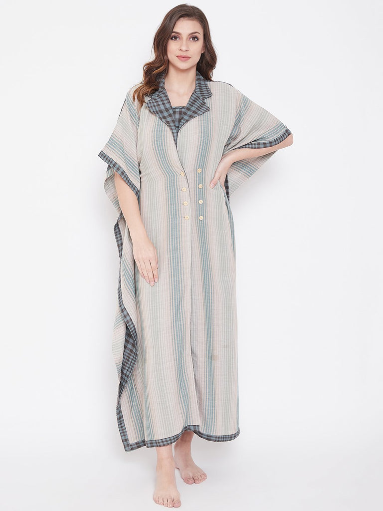Pastel Plaids Cotton Kaftan Gown