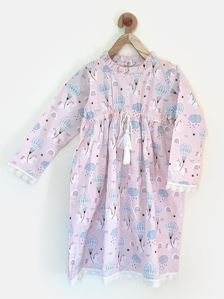 Girls Unicorn Printed pink Knee Length Nightdress