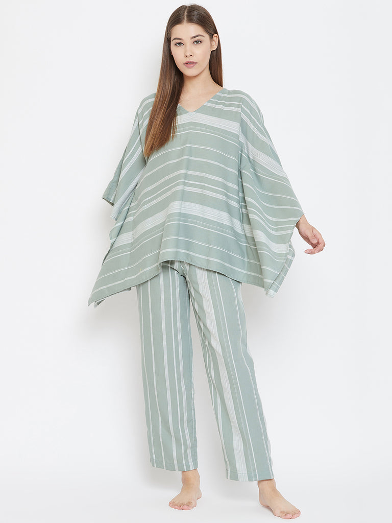 GLACIAL GREEN STRIPED KAFTAN LOUNGESET