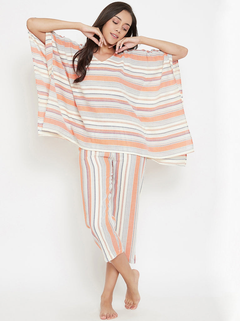 Orange Striped Handloom Cotton Capri Set