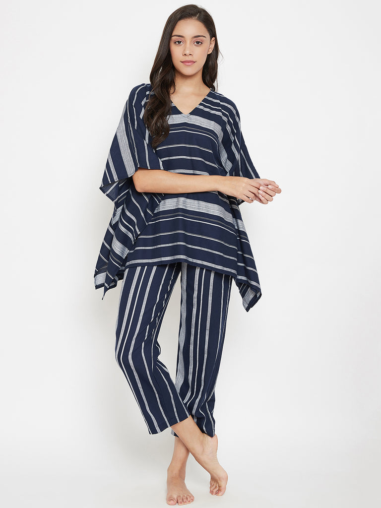Navy Striped Kaftan Pyjama Set