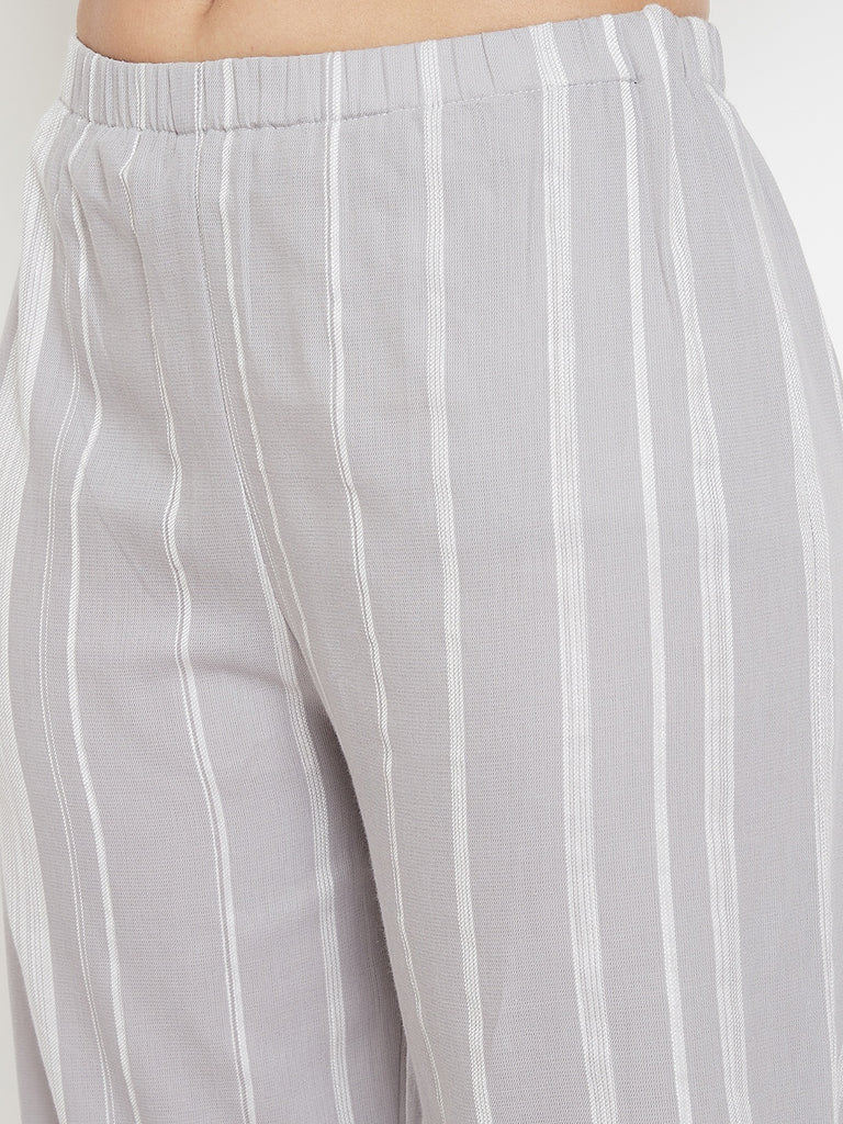 Silver Ice Striped Kaftan Pyjama Set