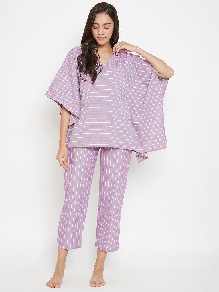 Cosmos Lilac Striped Kaftan Pyjama Set