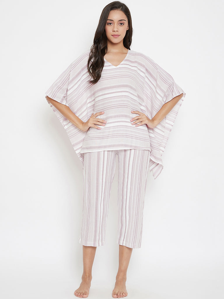 Pastel Striped Handloom Cotton Capri Set
