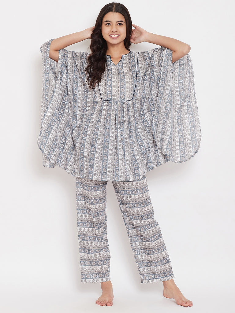 Blue Floral Cotton Kaftan Pyjama Set