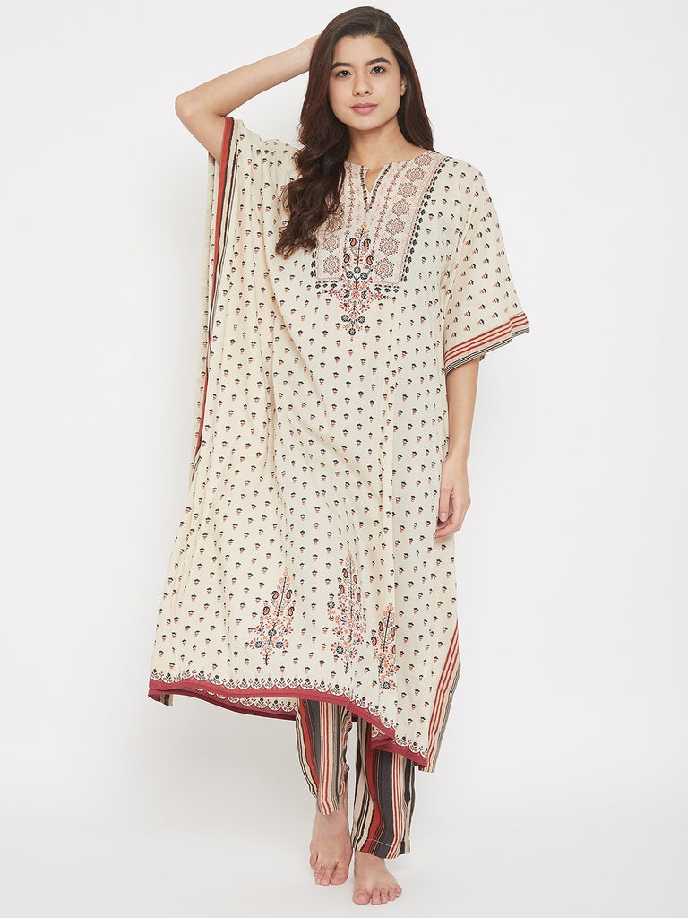 Buti Printed Beige Cotton Kaftan with Striped Pyjama