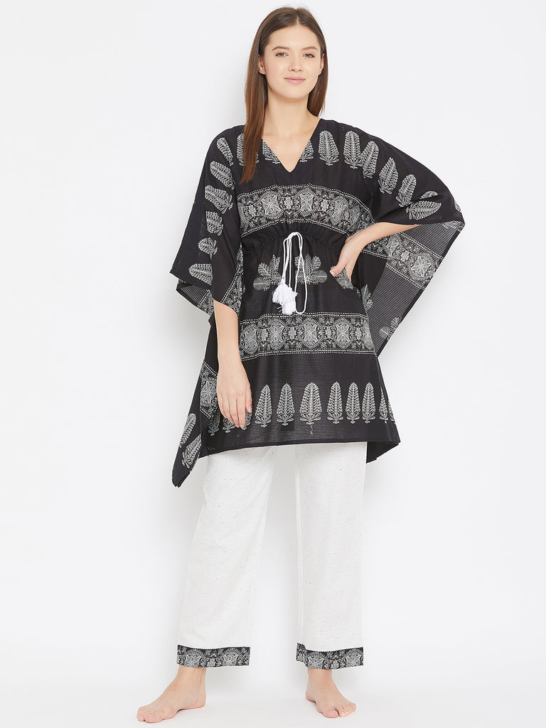 BLACK ETHNIC MOTIF KAFTAN TOP  WITH TIE UP DETAIL AND WHITE NEPS PYJAMA SET