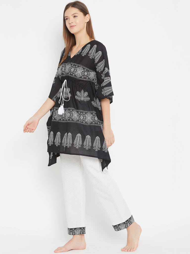 Black Ethnic Printed Kaftan Pyjama Set