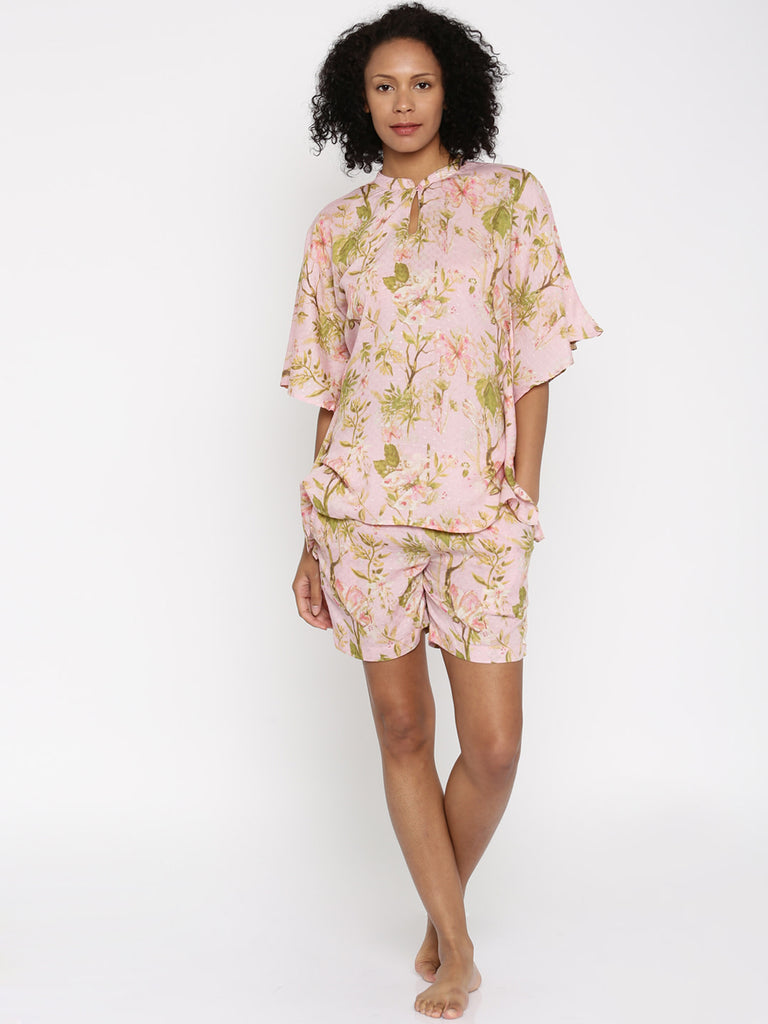 Pink Printed Kaftan Lounge Set