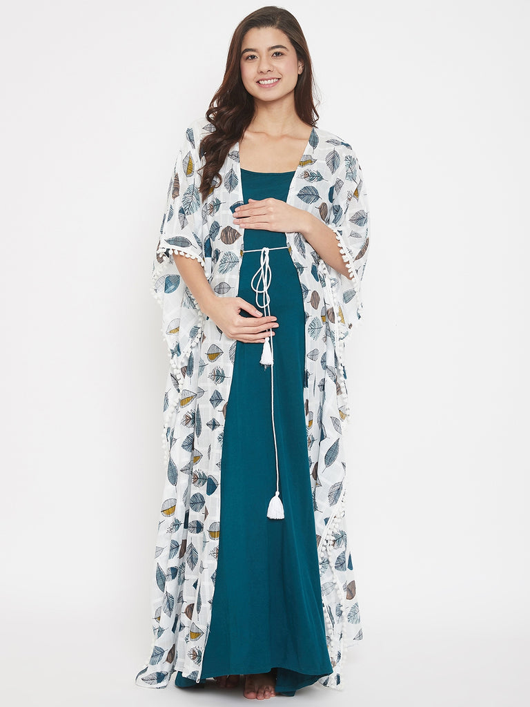 Leaves Printed Oriental Cotton Maternity Night Gown