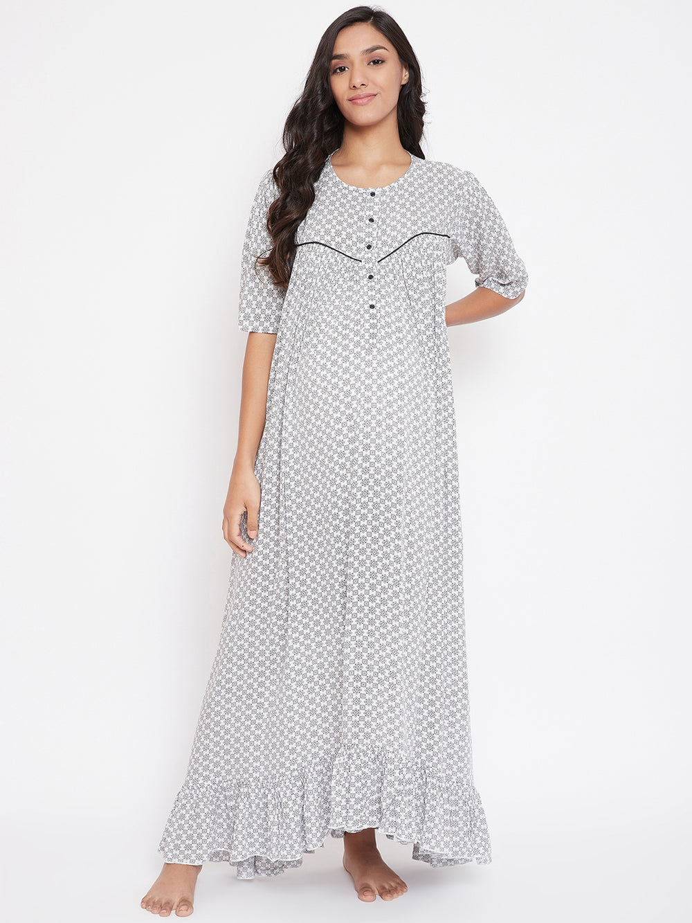 WHITE COTTON MATERNITY NIGHTDRESS WITH BUTTON PLACKET