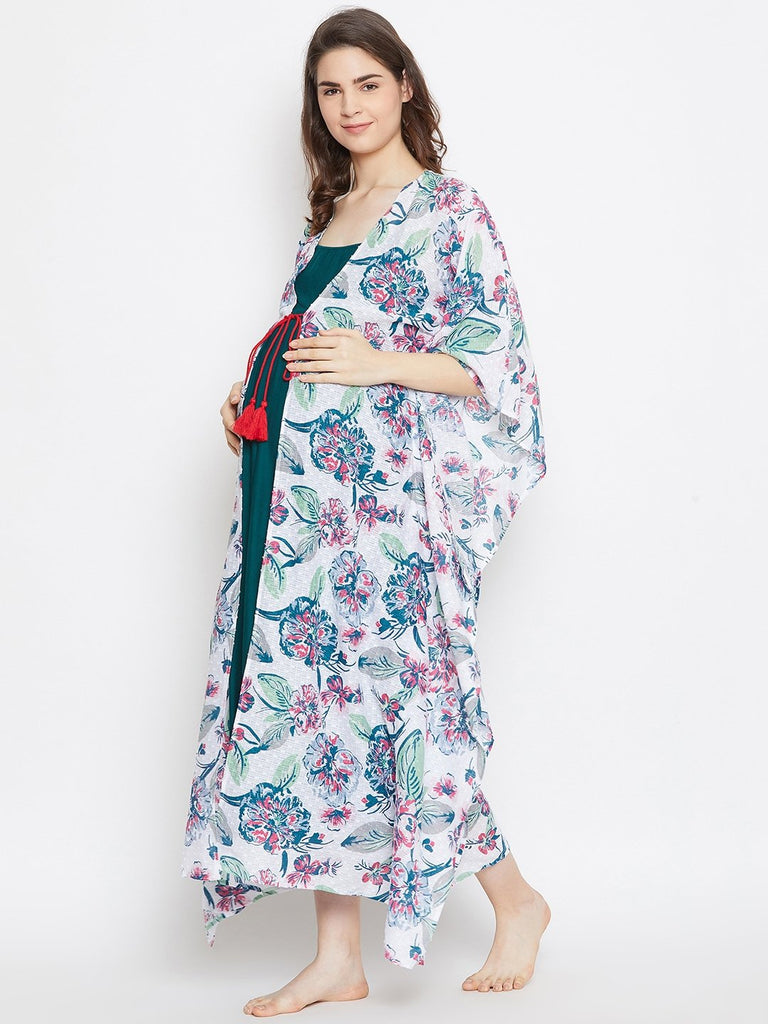 WHITE PRINTED MATERNITY GOWNSET