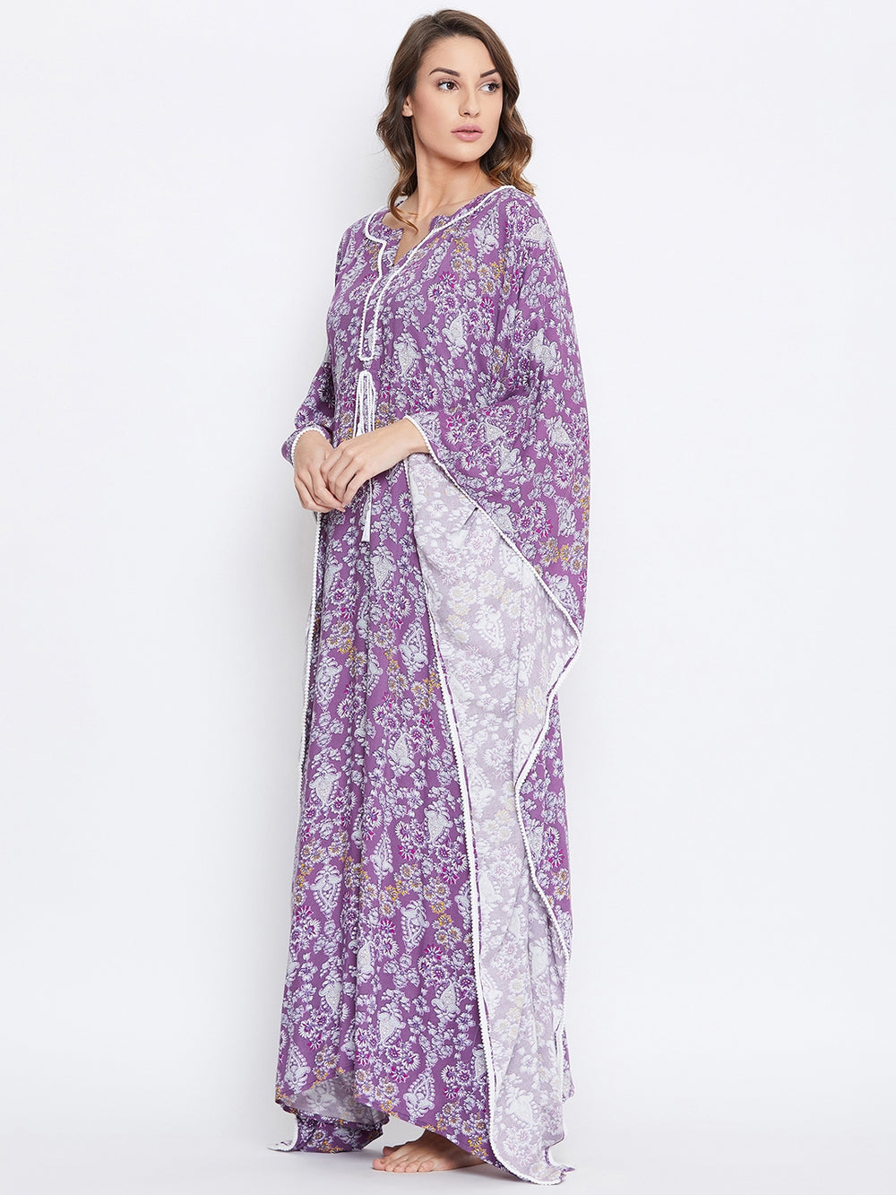PURPLE REPEATS LOUNGEWEAR KAFTAN