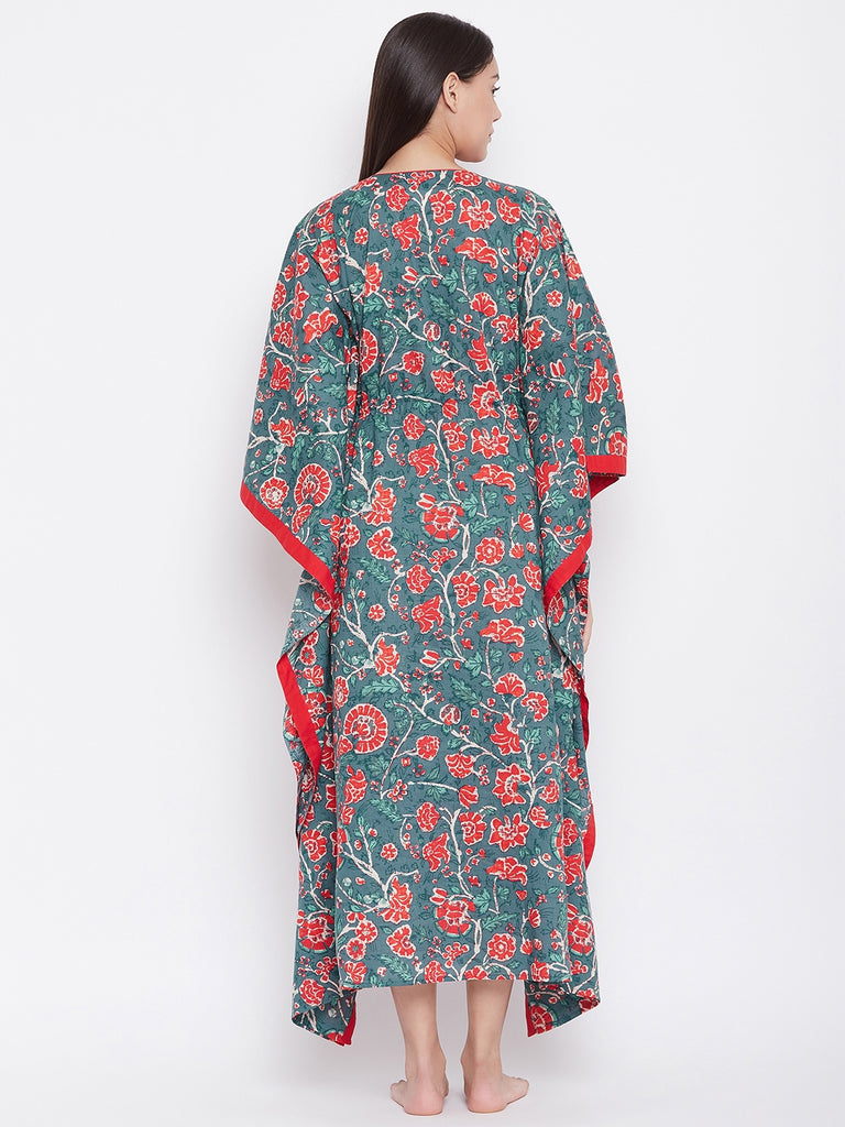 BLUE BLOCK PRINTED LOUNGEWEAR KAFTAN