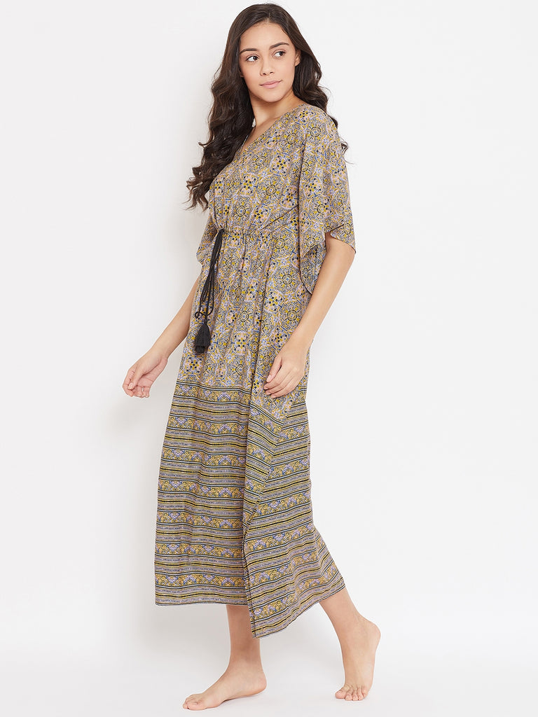 MUSTARD BLOCK PRINTED COTTON LOUNGEWEAR KAFTAN