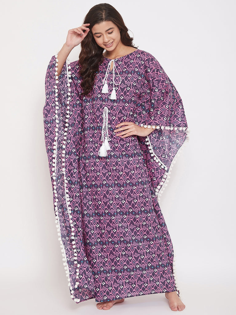Aztec Printed Cotton Kaftan with Pom-Pom Border and Waist Tie-Up