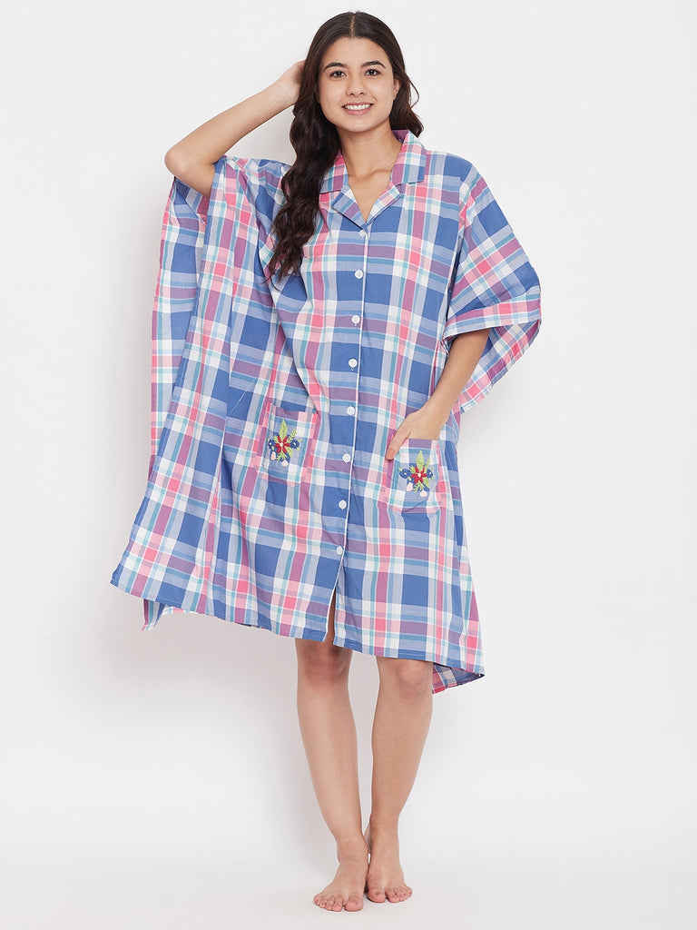 CHECKS KNEE LENGTH KAFTAN WITH EMBROIDERED POCKETS