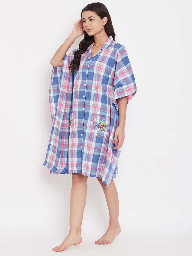 Pastel Plaids Sleepshirt with Embroidered Pockets