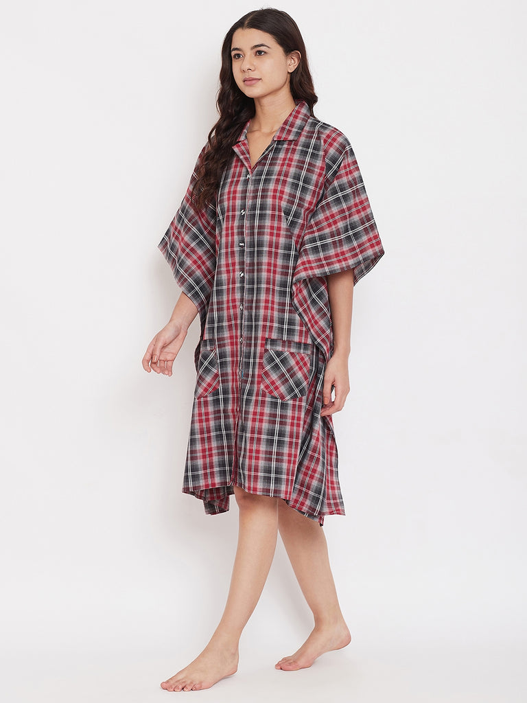 Black and Bold Checks Kaftan Sleepshirt