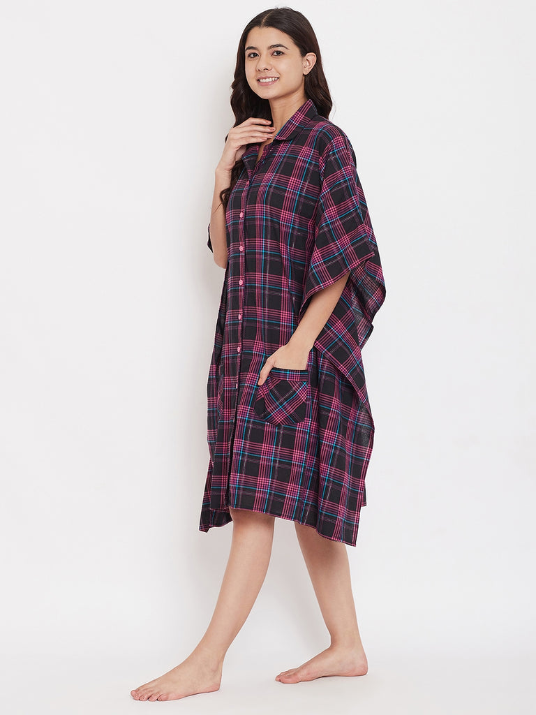 Fuschia Frenzy Checks Kaftan Sleepshirt