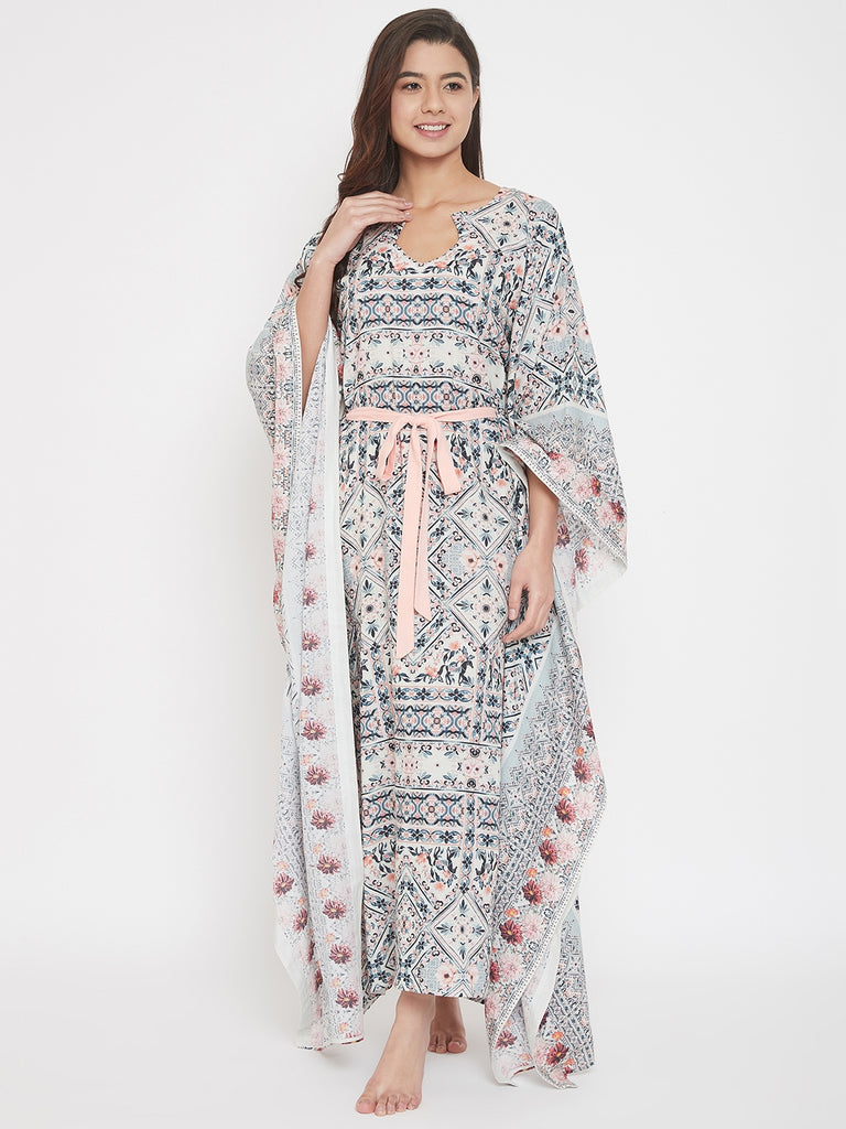 Pastel Floral Maxi Kaftan with Waist Ribbon Tie-Up