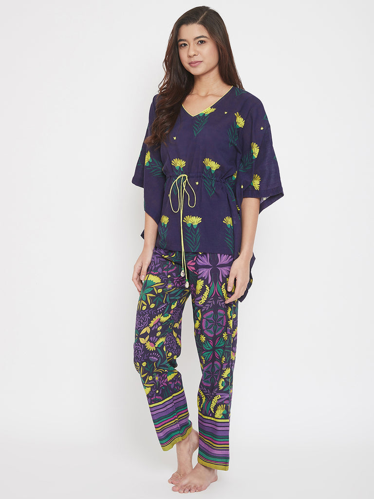 Violet Holly Floral Printed Cotton Kaftan Pyjama Set