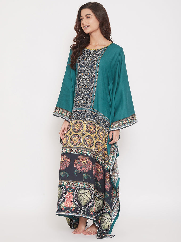 Floral Symmetric Printed Cotton Maxi Kaftan