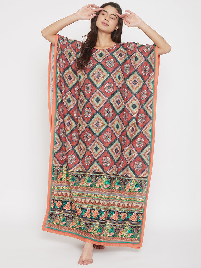 Red Geometrical Print Cotton Maxi Kaftan