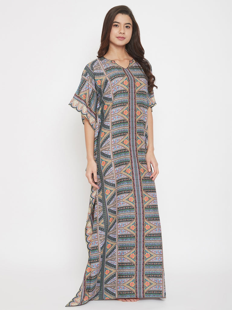 Hypnotize Multi Coloured Digital Print Cotton Maxi Kaftan