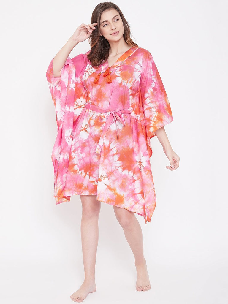 Taffy Pink Tie-Dye Kaftan with Belt